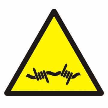 Znak Ostrzeżenie przed drutem kolczastym