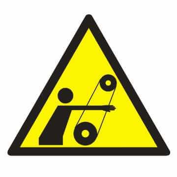 Znak UWAGA! Ruchome elementy