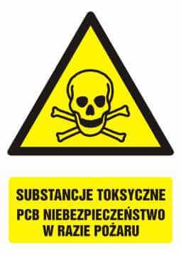 Znak Substancje toksyczne. PCB Niebezpieczeństwo w razie pożaru z opisem