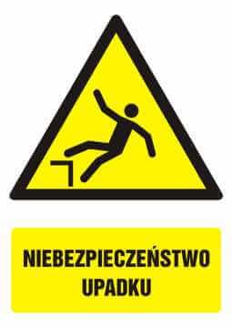 Znak Niebezpieczeństwo upadku z opisem