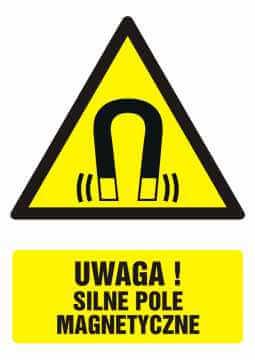 Znak UWAGA! silne pole magnetyczne z opisem