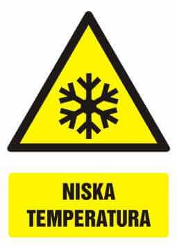 Znak Niska temperatura z opisem