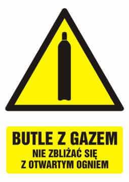 Znak Butle z gazem - nie zbliżać się z otwartym ogniem z opisem