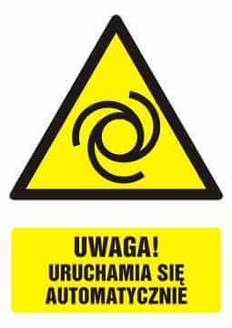 Znak UWAGA! Uruchamia się automatycznie z opisem