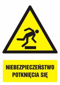 Znak Niebezpieczeństwo potknięcia się z opisem