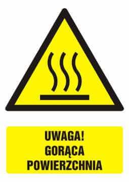Znak UWAGA! Gorąca powierzchnia z opisem 2