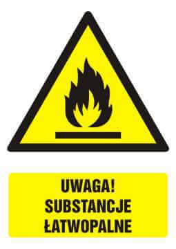 Znak UWAGA! Substancje łatwopalne z opisem