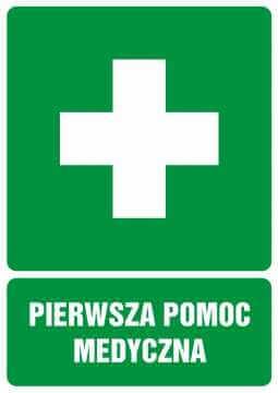 Znak informacyjny Pierwsza pomoc medyczna z opisem