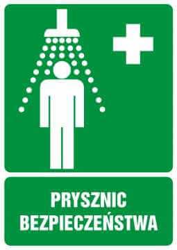 Znak informacyjny Prysznic bezpieczeństwa z opisem