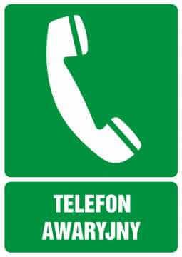 Znak informacyjny Telefon awaryjny z opisem