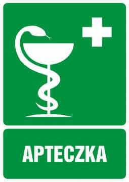 Znak informacyjny Apteczka pierwszej pomocy z opisem