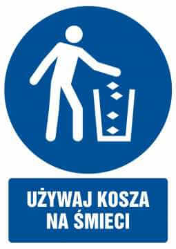 Używaj kosza na śmieci z opisem