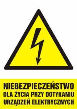 Niebezpieczeństwo dla życia przy dotykaniu urządzeń elektrycznych - pionowy