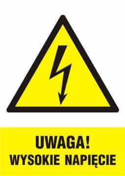 UWAGA! wysokie napięcie - pionowy