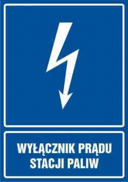 Wyłącznik prądu stacji paliw - pionowy
