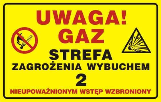UWAGA! Gaz - strefa zagrożenia wybuchem 2. Nieupoważnionym wstęp wzbroniony