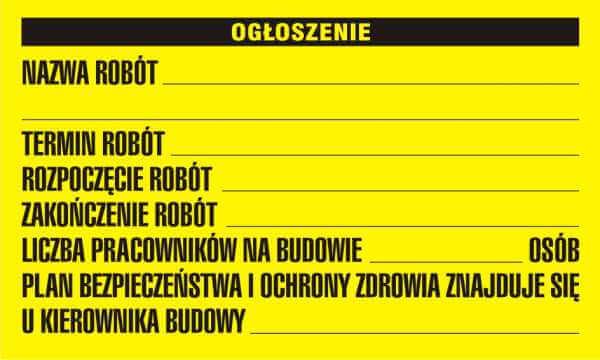 Tablica BIOZ informacyjna - ogłoszenie