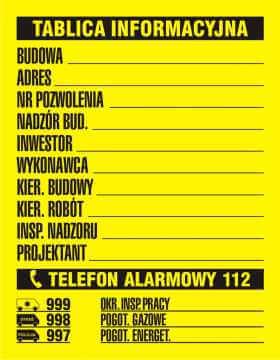 Tablica budowlana informacyjna 1 kolor (czarny)