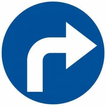 Nakaz jazdy w prawo (skręcanie za znakiem)