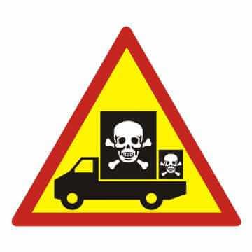 Naklejka samochód przewozi niebezpieczny ładunek