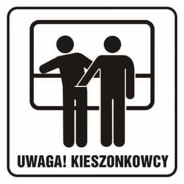 Naklejka UWAGA! Kieszonkowcy