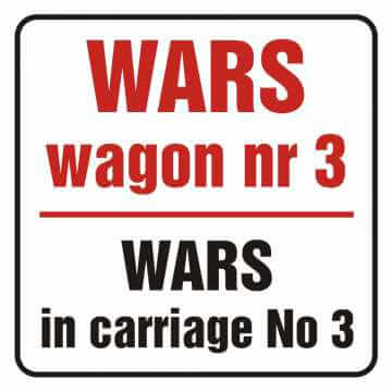 Naklejka wars w wagonie nr 3. Wars in carriage no 3