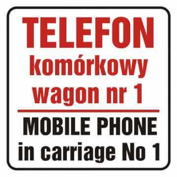 Naklejka telefon komórkowy w wagonie nr 1. Mobile phone in carriage no 1