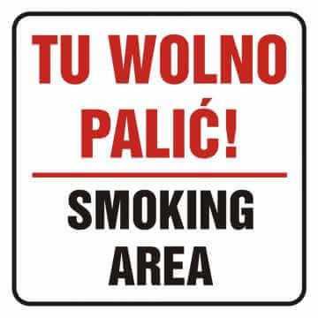 Naklejka tu wolno palić! Smoking area