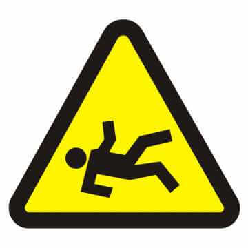 Naklejka niebezpieczeństwo wypadnięcia